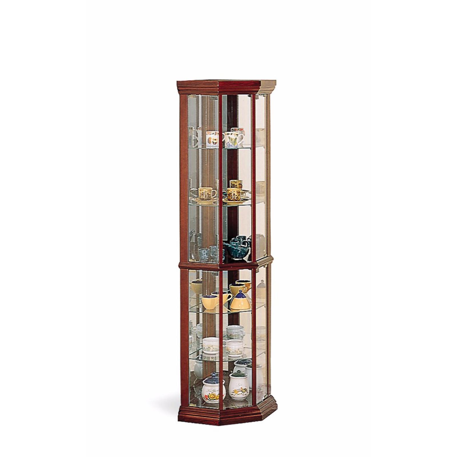 Coaster Solid Wood Glass Corner China Curio Cabinet, Cherry Finish