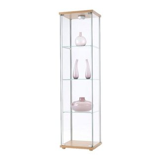 Ikea Detolf Glass Curio Display Cabinet Light Brown
