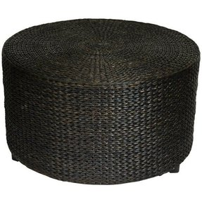 Oriental Furniture Rustic Coffee Table Foot Stool 30 Inch Woven Water Hyacinth Rattan Style