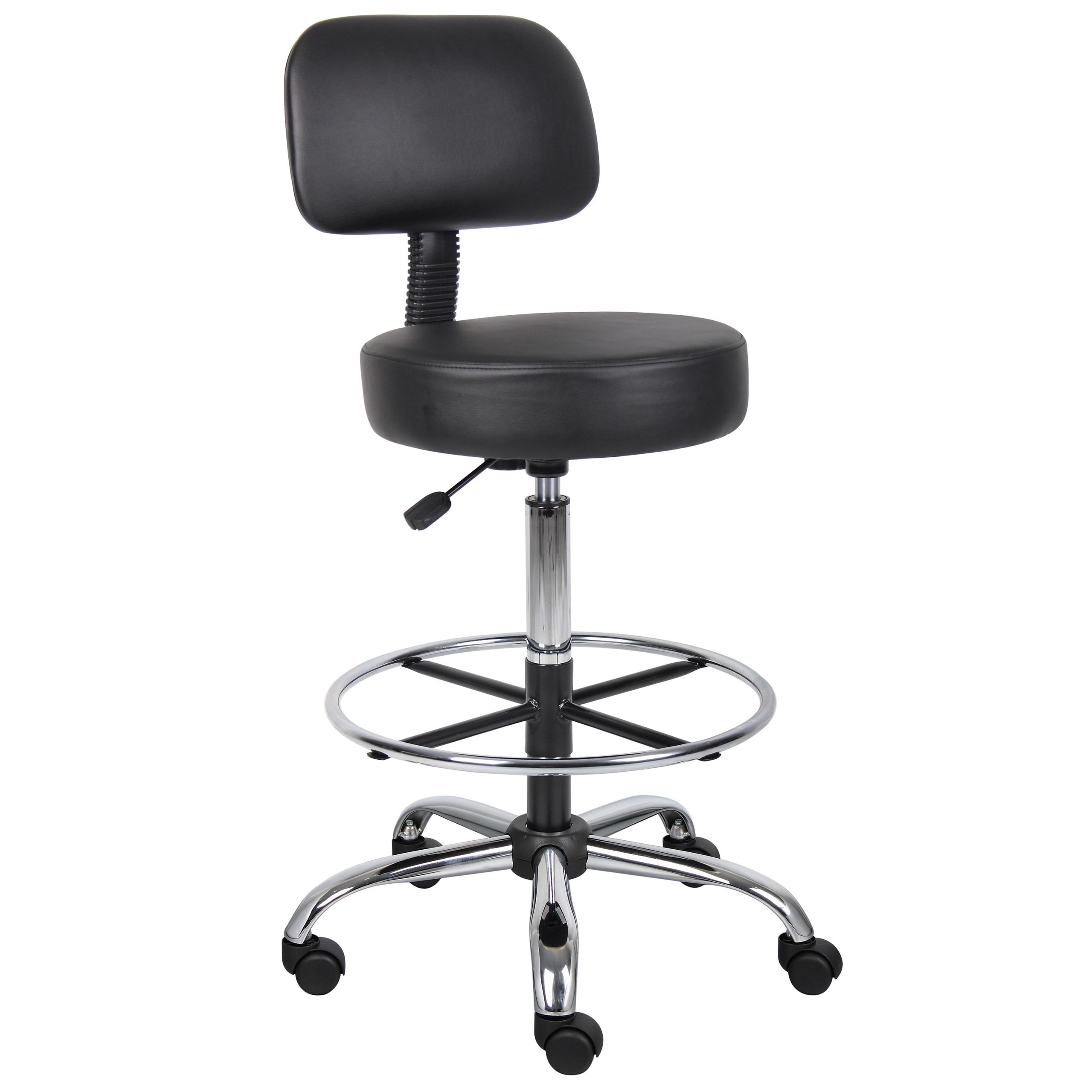 Wonderful Boss B16245 BK Caressoft Medical/Drafting Stool With Back Cushion