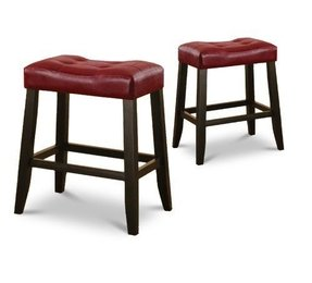 "2 24"" Red Cushion Kitchen Counter Dining Saddle Back Black Finish Bar Stools"
