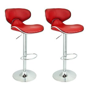 2 Swivel Black Elegant PU Leather Modern Adjustable Hydraulic Bar Stool Barstool