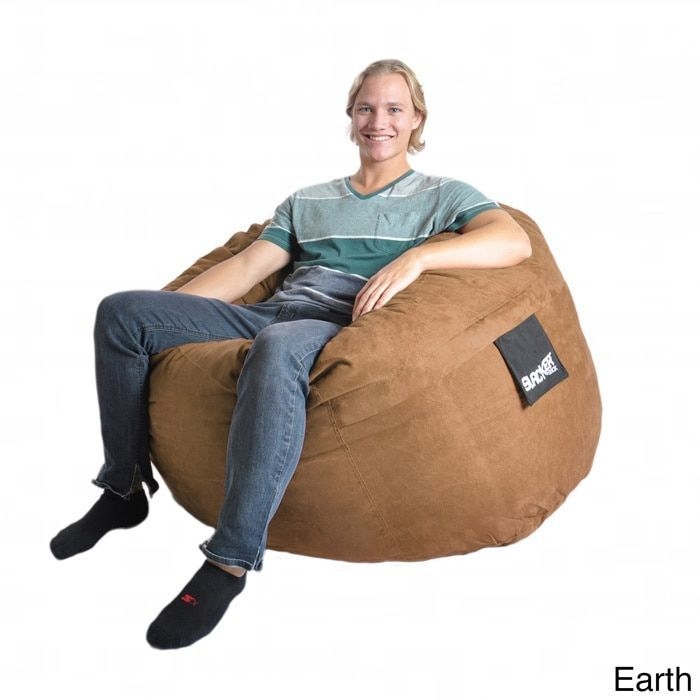 4 Foot Earth Microsuede Foam Bean Bag SLACKER Sack Gaming Chair Like Love  Sac Medium Brown