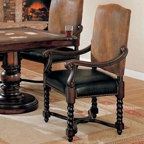 Coaster European Style Game/Dining Arm Chairs with Nail Head Trim, Set of 2