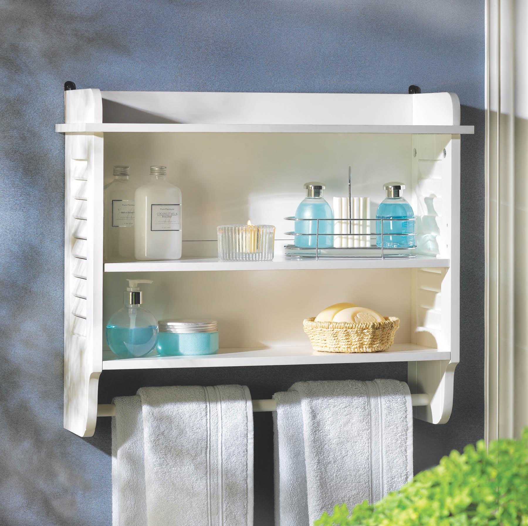 Superieur Gifts U0026 Decor Nantucket Home White Bathroom Wall Shelf Towel Holder