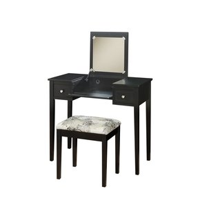 Linon Home Decor Vanity Set with Butterfly Bench, Black