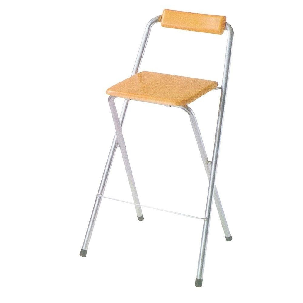 ORE International F 4009 Set Of 2 Folding Bar Chairs, Silvertone