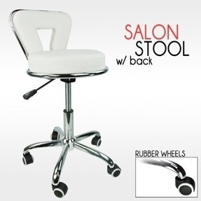 Professional Working Stool Doctor Dentist Salon Spa Barber White Chair PU Leather
