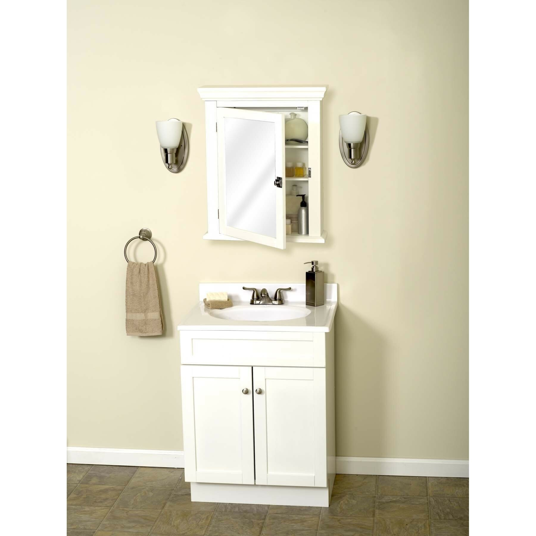 Zenith Products MC10WW Early American Mirrored Medicine Cabinet, 22 Inch By  27 Inch