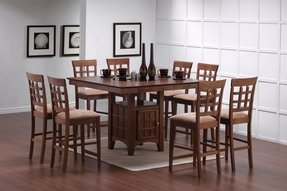 9pcs Walnut Counter Height Dining Table With Lazy Susan 8 Stools Set