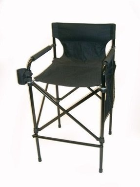 "AWARD WINNING ""BLACK BEAUTY"" Tall Directors Chair Telescopic Folding Chair Design, Easy-To-Carry Matching Black Carrying Bag!"