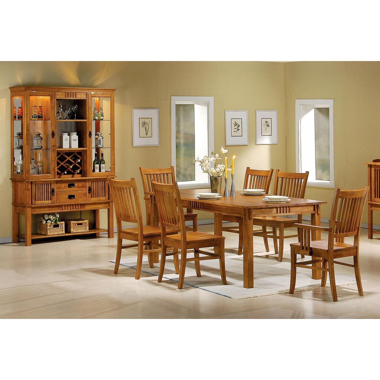 Coaster 100621 Mission Style Dining Table Burnished Oak Solid Hardwood & Mission Oak Dining Room Chair - Foter