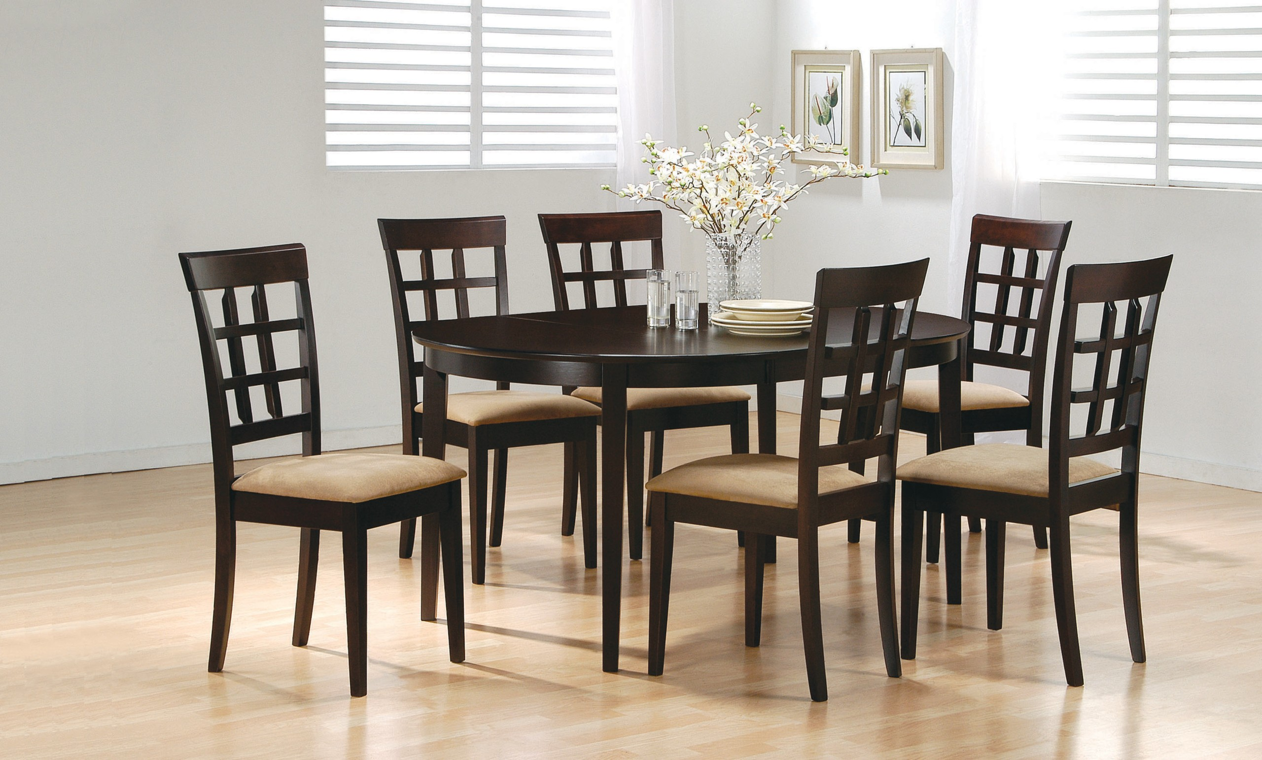 Beau Coaster Contemporary Style Dining Chairs, Cappuccino Wood Finish, Set Of 2