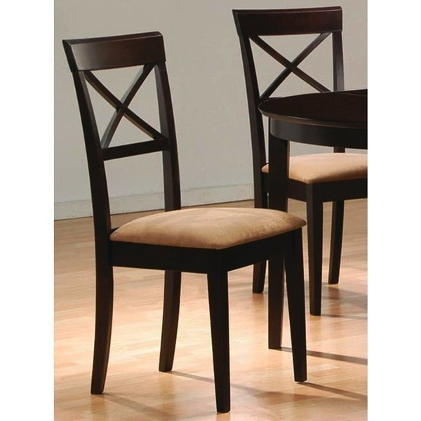 Coaster Dining Chairs, Cross Back Design, Dark Cappuccino, Set Of 2
