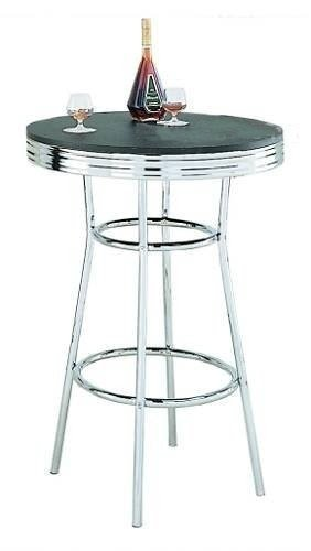 Retro Soda Fountain Style Bar Table W/Chrome Plating U0026 Black Top