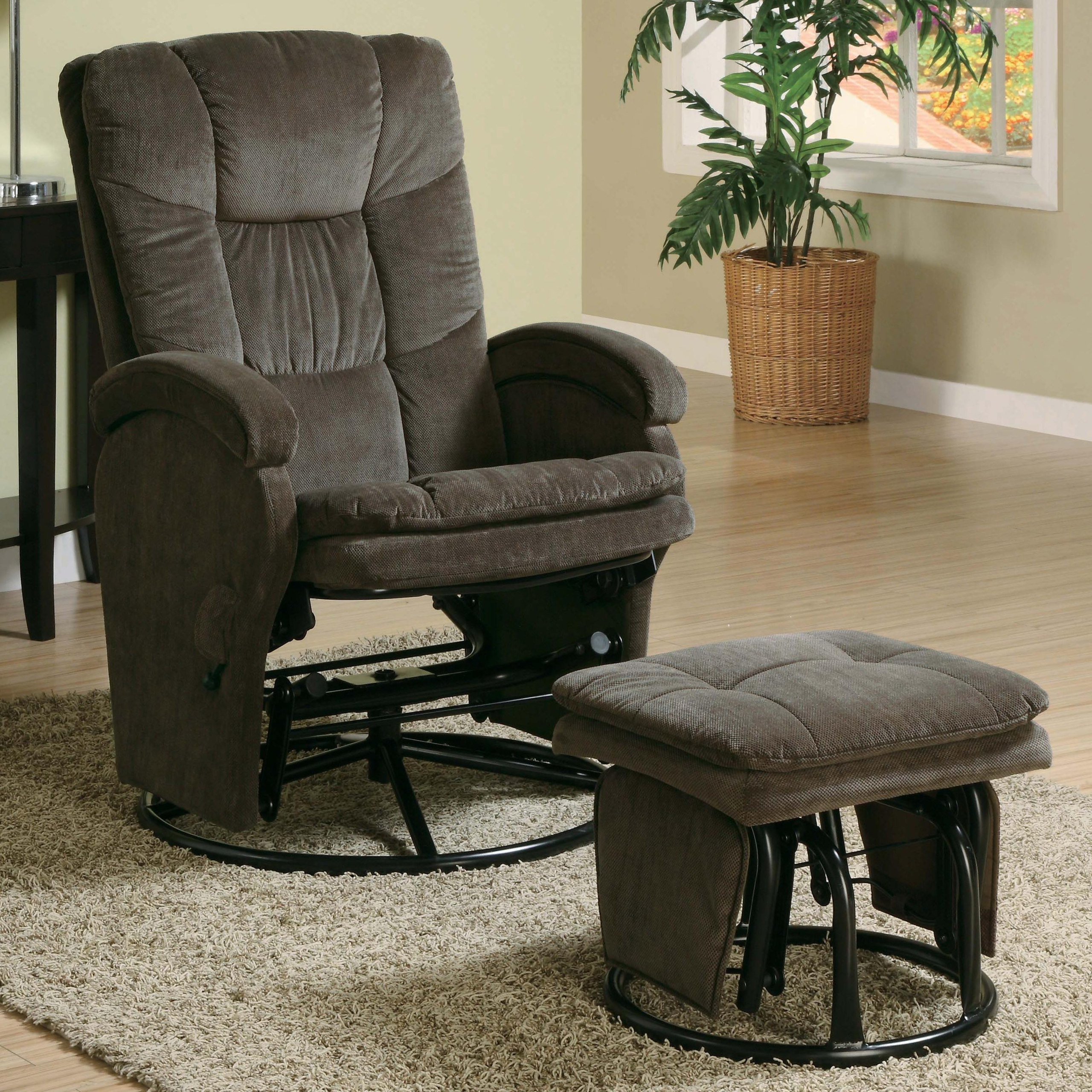 Incroyable 600159 2PC Modern Swivel Gliding, Rocking Recliner Chair With Metal Ottoman  In Choco.
