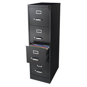 "CommClad 17891/17892 22"" Deep 4-Drawer Letter-Size Commercial Vertical File Color: Black"