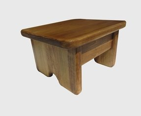 "Foot Stool Poplar Wood Maple Stain 6"" Tall Mini (Made in the USA)"