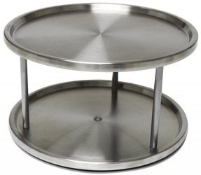 Lazy Susan Stainless Steel - 2 Tier Design Turntable- By Metro Fulfillment House