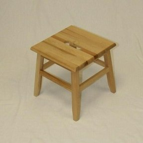 Set of 2 Hardwood Footstools in Natural Finish