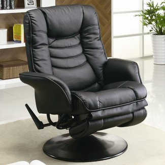 Swivel Recliner Chair with Flair Tapered Arm in Black Leatherette