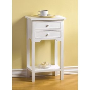 Wood White Home Accent Side End Table Phone Plant Stand
