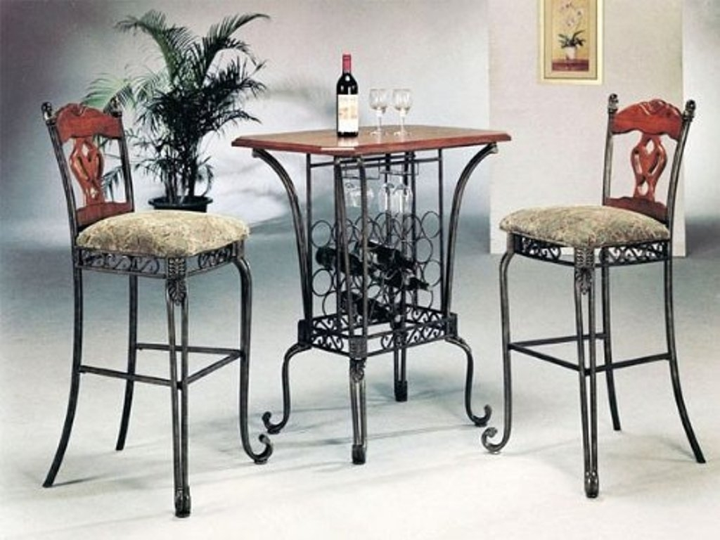 3 Piece Bar Table Set With Wine Rack Base   Bar Table And 2 Bar Chairs