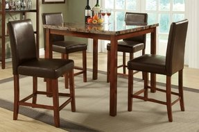 5pc Counter Height Dining Set with Marble Top in Brown Finish