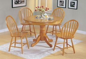 5pc Country Style Oak Finish Wood Round Dining Table 4 Windsor Chair Set