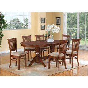 5PC Oval Dining Set Table with 17 in Leaf & 4 Upholstered Chairs Espresso
