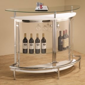 Coaster Contemporary Tempered Glass White Bar Unit