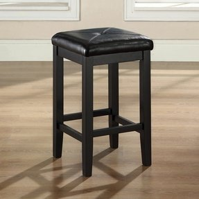 Crosley Furniture Upholstered Square Seat Bar Stool, Black with 24-Inch Seat Height, Set of 2