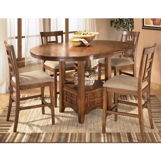 Cross Island Medium Brown Oak Stain 5 Piece Counter Height Dining Set