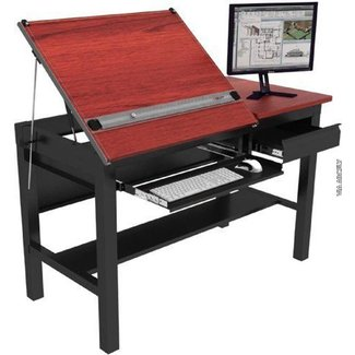"Freedom Drafting Table 60''x30"" - Black Frame, Black Surface"