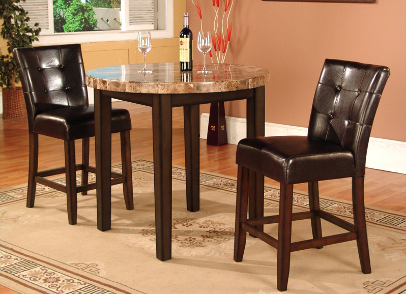 Roundhill Furniture 3 Piece Faux Marble Top Counter Height Bar Table Set  With 2 Stools