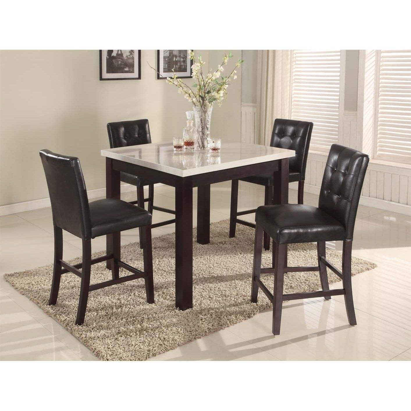 Roundhill Furniture 5 Piece Oern Artificial Marble Top Counter Height  Dinette Dinning Table Set With
