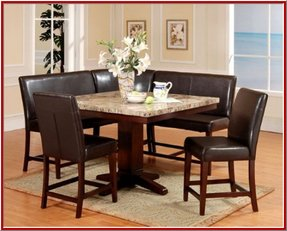 Roundhill Furniture 6-Piece Counter Height Artificial Marble Top Square Pedestal Dining Set, Espresso
