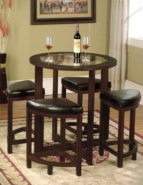 Roundhill Furniture Cylina Solid Wood Gl Top Round Counter Height Table With 4 Stools