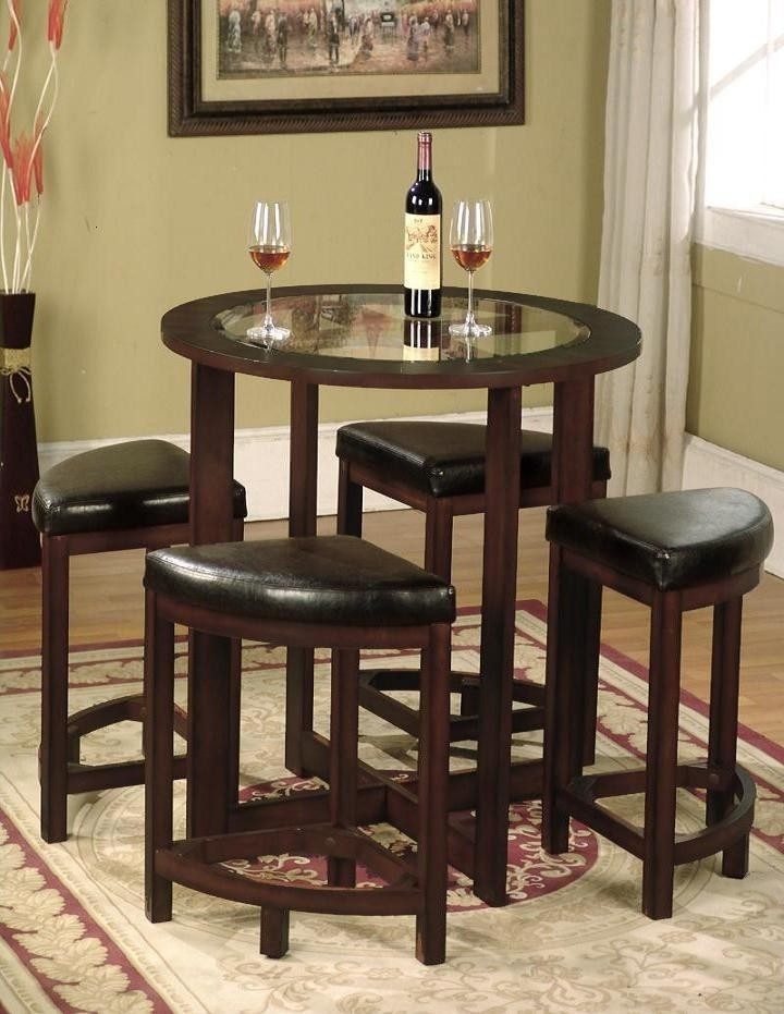 Genial Roundhill Furniture Cylina Solid Wood Glass Top Round Counter Height Table  With 4 Stools