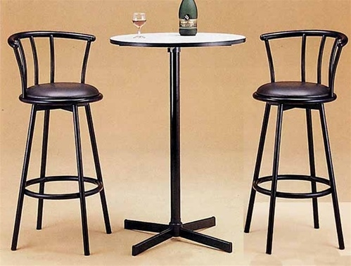 Roundhill Furniture Nor Hill 3-Piece Black Metal Height Bar Table Set with 2 Stools & Pub Tables And Chair Sets - Foter