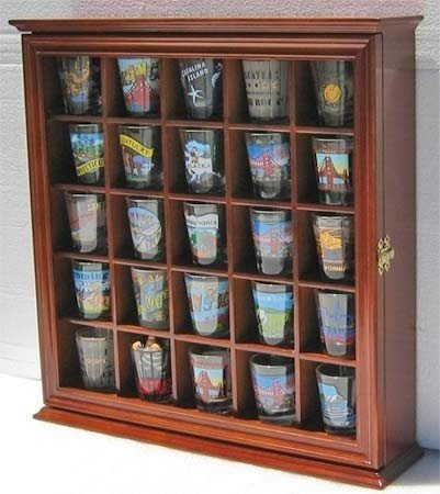 Shot Glass Display Case Wall Curio Cabinet, Glass Door, Solid Wood SC01B WA