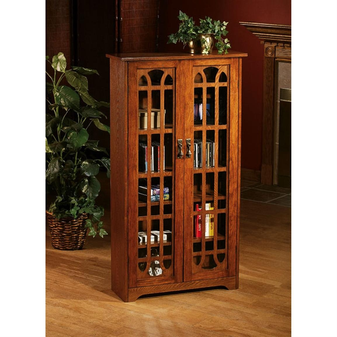 Southern Enterprises Window Pane Media Cabinet Bookcase   Oak