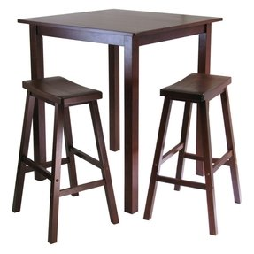 Winsome's Parkland 3-Piece Square High/Pub Table Set in Antique Walnut Finish