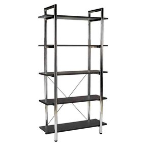 ITALMODERN Laurence-5 Leather Bookcase; Black/Chrome