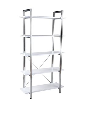 ITALMODERN Laurence-5 Leather Bookcase; White/Chrome