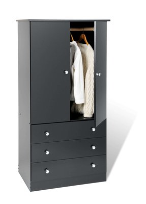 Junior Wardrobe with 3 drawers Black