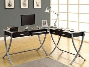Monarch Specialties Cuccino Finish And Silver Metal Corner Desk