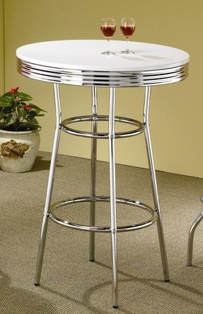 50's Soda Fountain Bar Table In White by Coaster Furniture