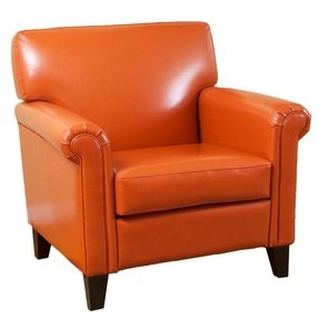 Best Selling Classic Leather Club Chair, Burnt Orange