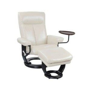 Coaster Swivel Recliner Chair with Ottoman in Ivory Bonded Leather